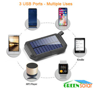 3 USB Ports Solar Panel Battery Charger